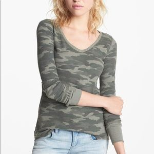 FREE PEOPLE CAMO THERMAL CAMOUFLAGE TOP M